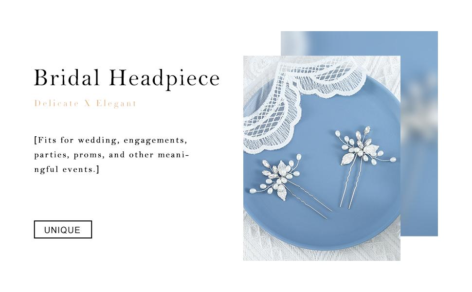 YBSHIN Bride Wedding Silver Hair Pins Crystal Hair Clips Rhinestone Bridal Headpieces