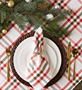 Red and Green plaid tablescape with Merry napkin rings