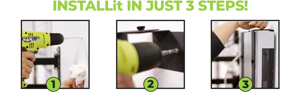 HIDEit Mounts are easy to install. Stud mounting optional + drill not required.