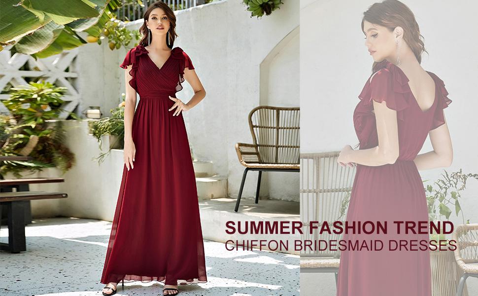 Ever-Pretty womens chiffon summer dresses wedding guest dresses evening dress prom dresses long