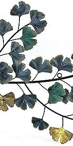 Bellaa Metal Wall Art Japanes Flower Golden Blue Abstract Ginkgo Leaf Scroll Wrought Iron Hanging