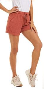 Women Casual Shorts Cotton Linen Beach Elastic Waist Shorts