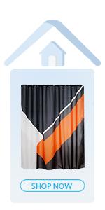 orange amp; black shower curtain