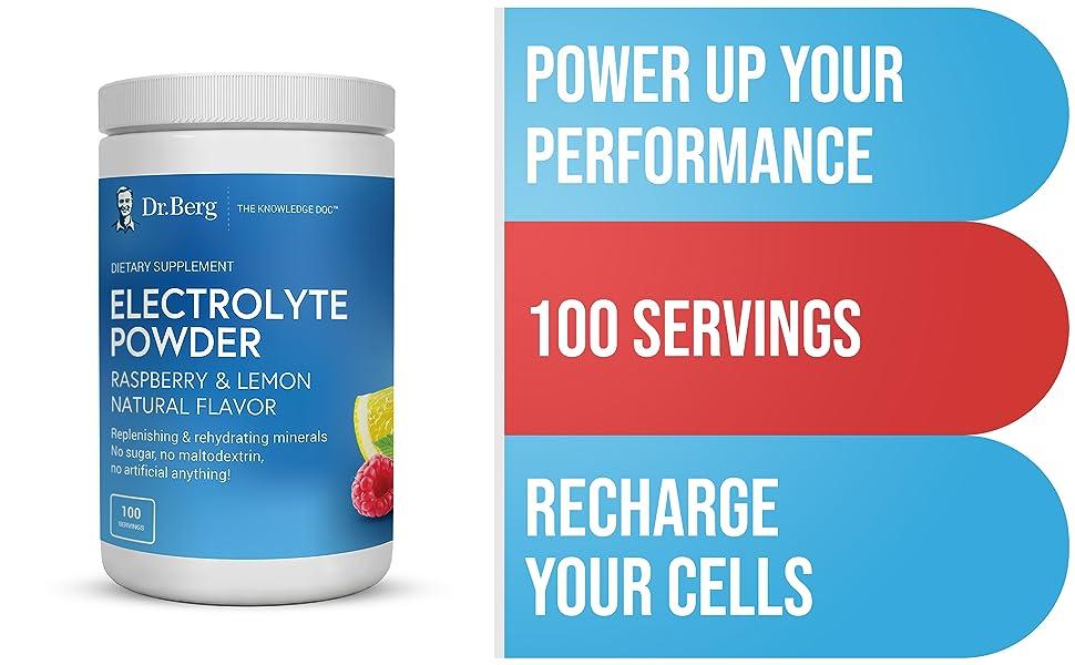 Dr. Berg's Electrolyte Powder, Raspberry amp; Lemon Natural Flavor PLUS 100 Servings