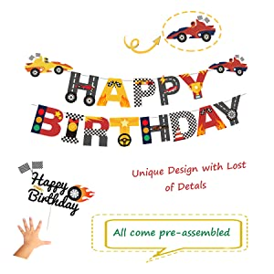 Race Car Birthday Decorations for Kids Boys Let's go Racing Party Supplies With Banner