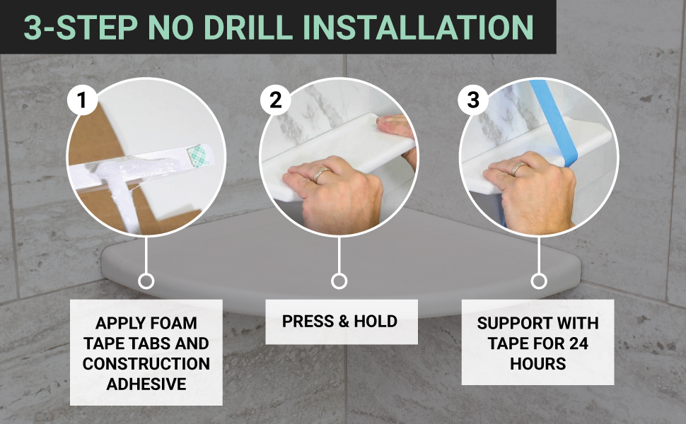 3-Step no drill installation for floating shelves