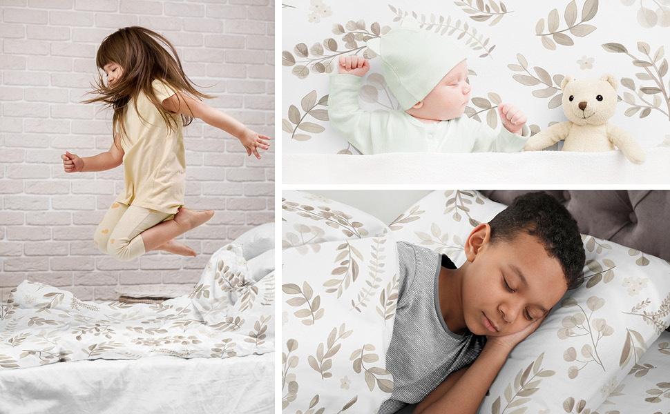 Taupe Botanical Leaf Collection 4 Piece Crib Bedding