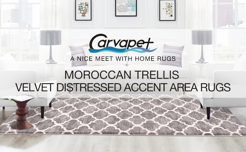 Moroccan Trellis Area Rug Soft Velvet Runner Small Accent Distressed Throw Rugs