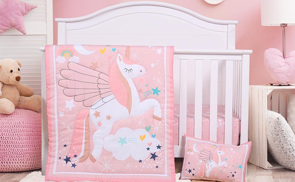 pink crib bedding set for girls