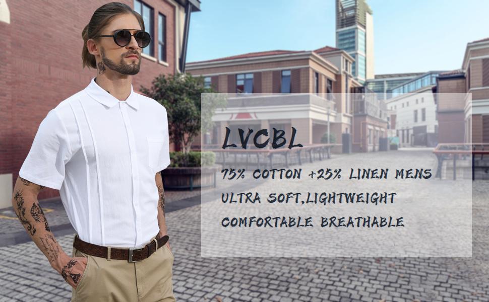 LVCBL Men Linen Shirts Casual Standard Fit Short Sleeve