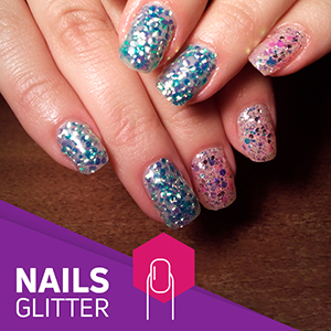 Glitter implement on Nails