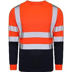 Hi Viz Vis Crew Neck Two Tone T Shirt Full Sleeve Safety Security Work Orange Black