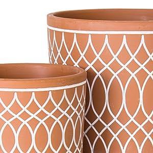 Handcrafted line pattern design planter pots