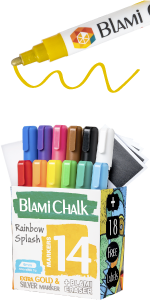 Fourteen pack of markers with chalkboard labels and magic eraser sponge.