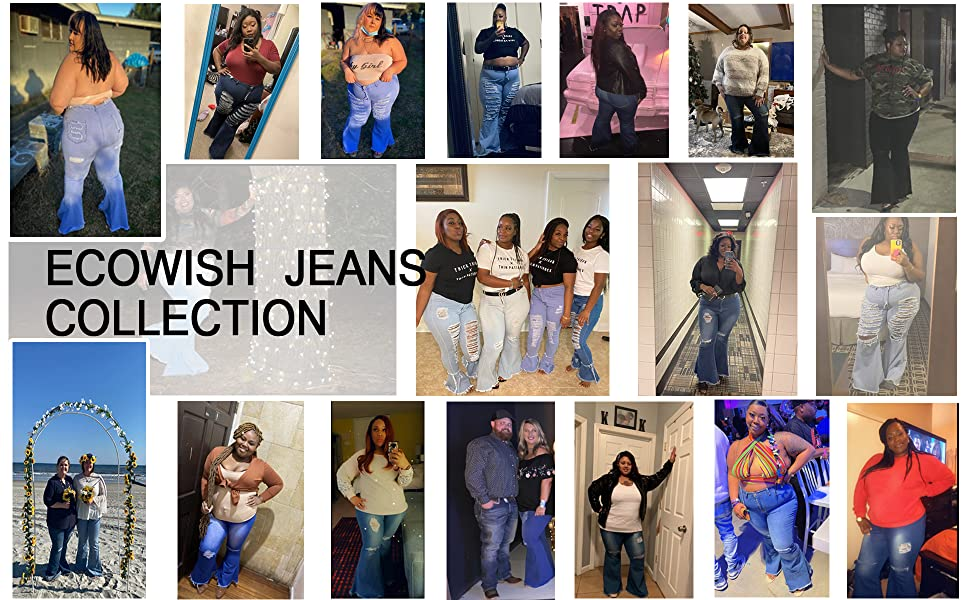 Womens Ripped Bell Bottom Plus Size Jeans Buyers Show
