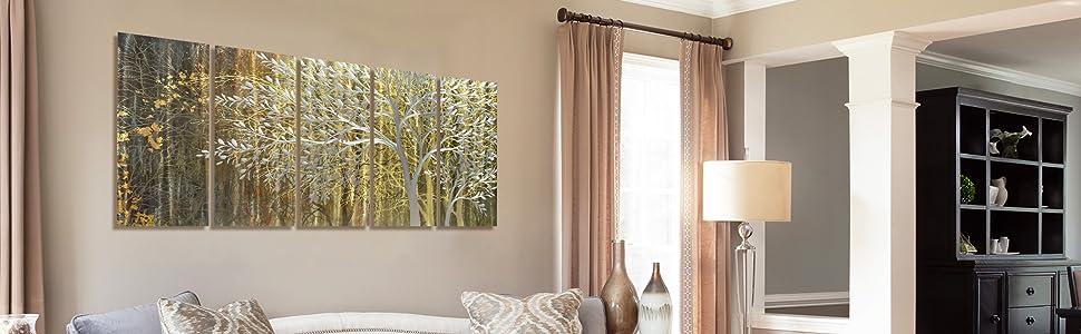 yellow and brown metal tree art