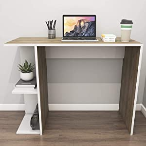 computer table, laptop table, wooden computer table, wooden laptop table, white table, study table