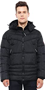 rokka and rolla mens black heavy puffer jacket winter coat