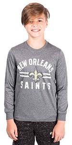 Ultra Game NFL Boys Super Soft Crew Neck Long Sleeve T-Shirt