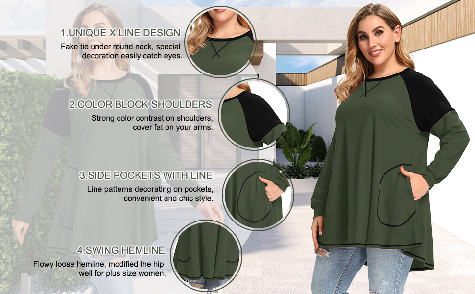 8102 Long Sleeve Women Sweatshirts Scoop Neck Pullover Tops With Pockets