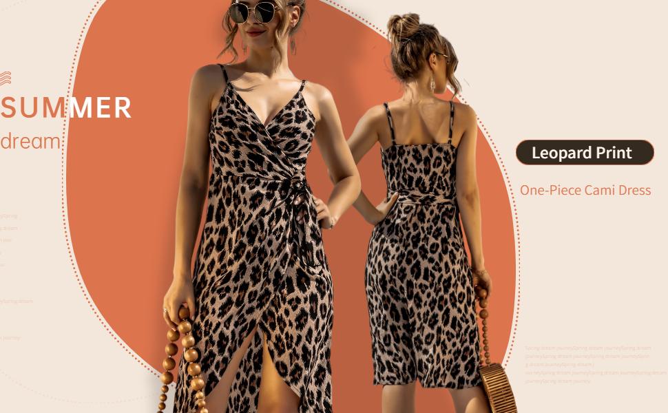leopard cami dress,v neck cami dress,women tie waist cami dress,women split cami dress,summer dress