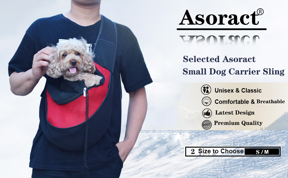 Asoract Small Dog Carrier Sling, Premium Quality Pet Sling Carrier for Small Dogs and Cats