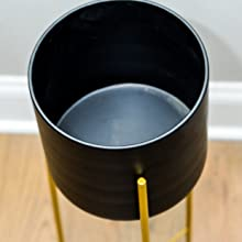 black metal plant pot with gold stand