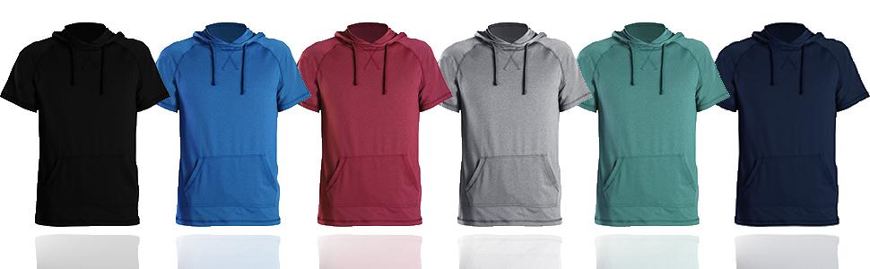 LeeHanTon Men's Solid Color Hooded T-Shirts