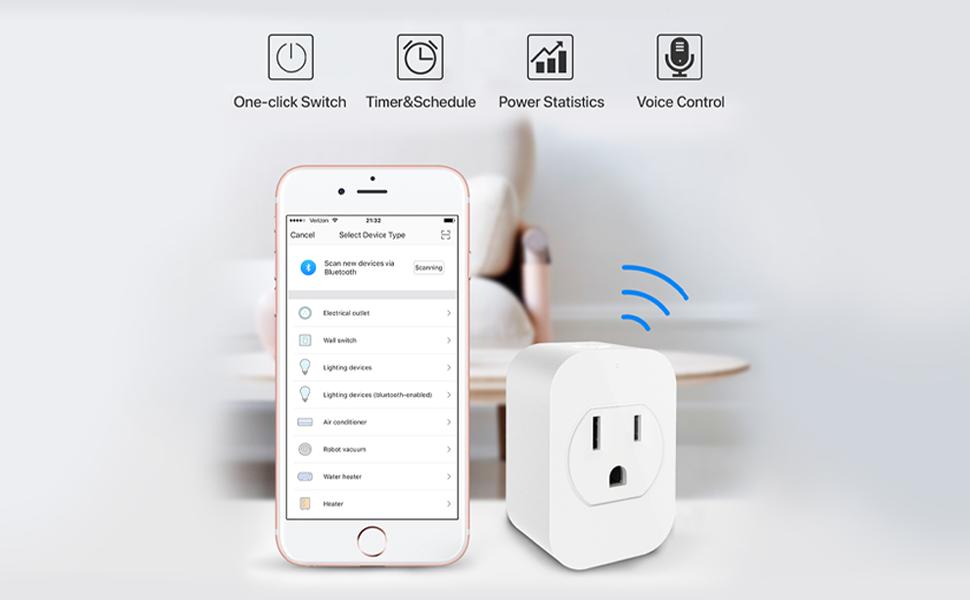 amazon alexa smart plug,wall outlet smart plug,device control plug,power control smart plug,internet