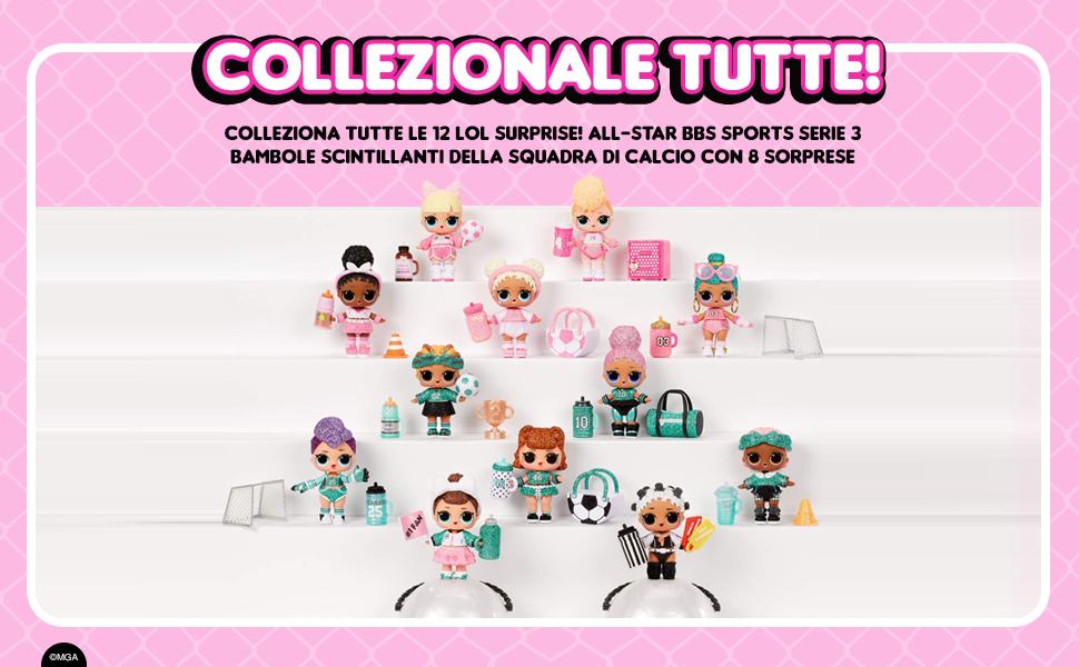 LOL Surprise All-Star BBs Serie 3 Bambola luccicante a tema sportivo con 8 sorprese