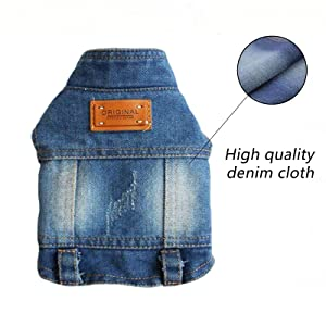 BLUE Stand Collar jean vest