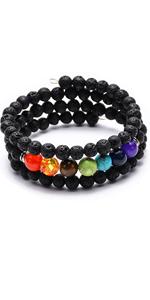 7 chakra lava rock bracelet