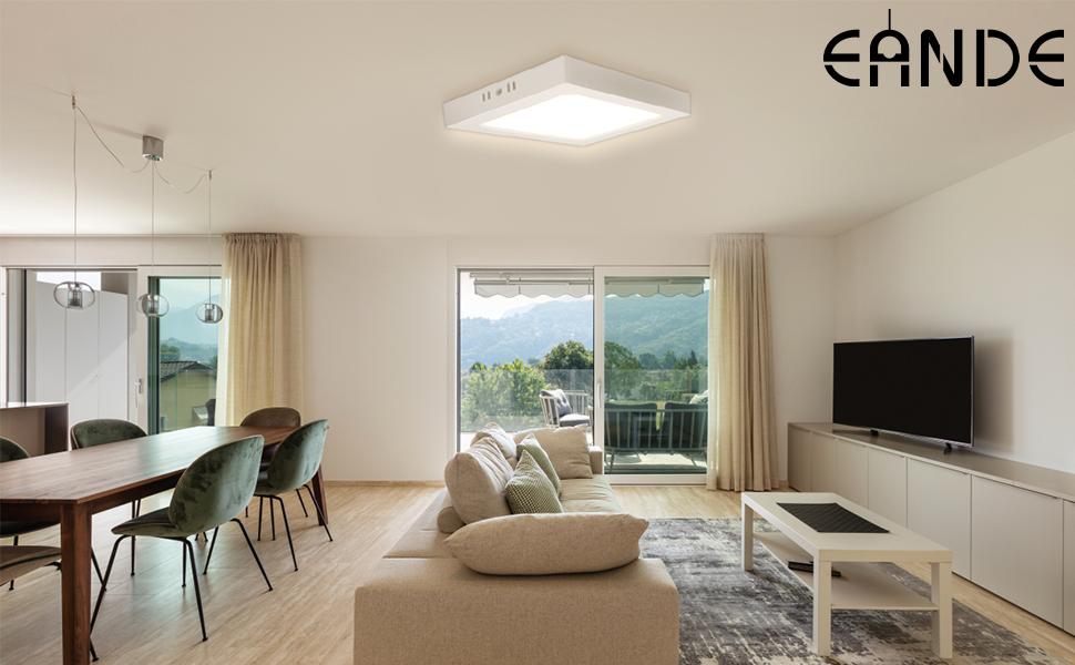 Eande 3pcs Plafonnier LED Plat 18W Lampe de Plafond Montée en Surface Blanc Mat Carré Blanc Chaud