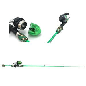 fishing reel with the cap opened, expanded fishing rod