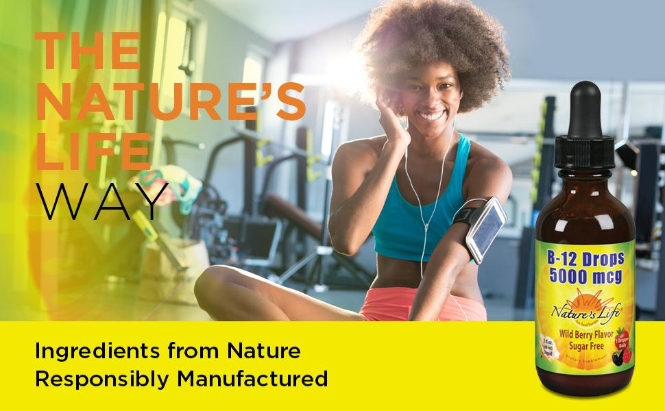 Nature's Life B12 Drops Methylcobalamin 5000 mcg Healthy Energy Metabolism Mood Support Wild Berry