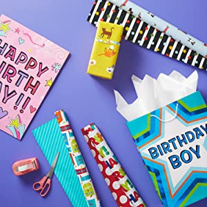Birthday gift bags for boys and girls, cat wrapping paper