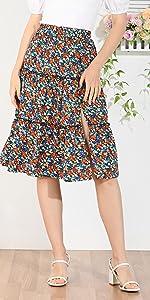 Split Tiered Ruffle Skirt