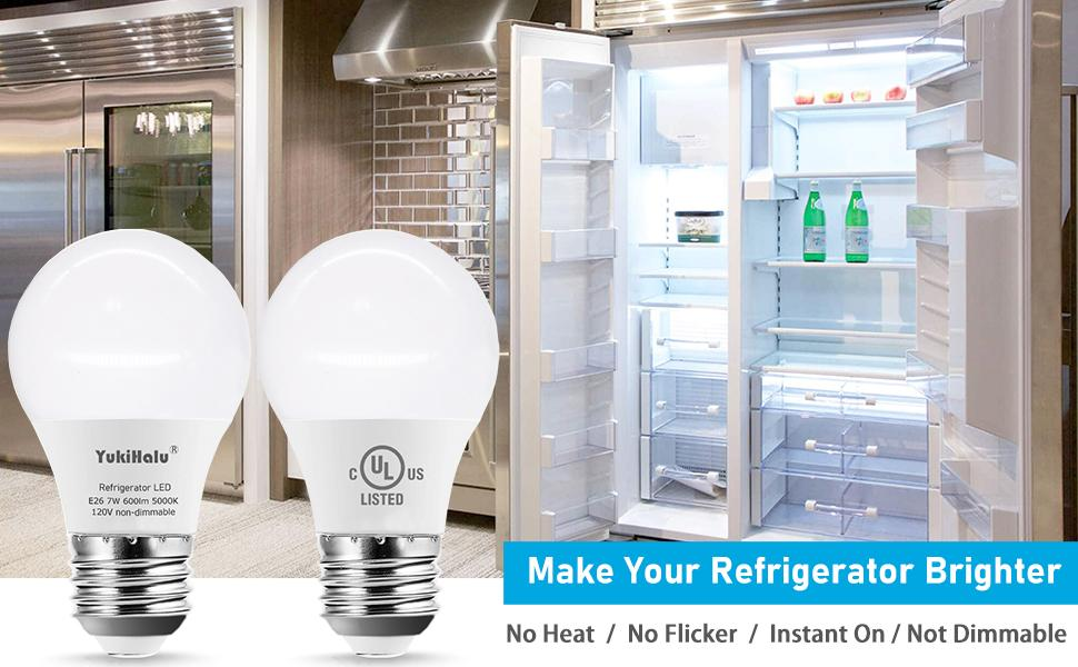 A15 refrigerator light bulb replacement no heat, flicker free, instant on, not dimmable