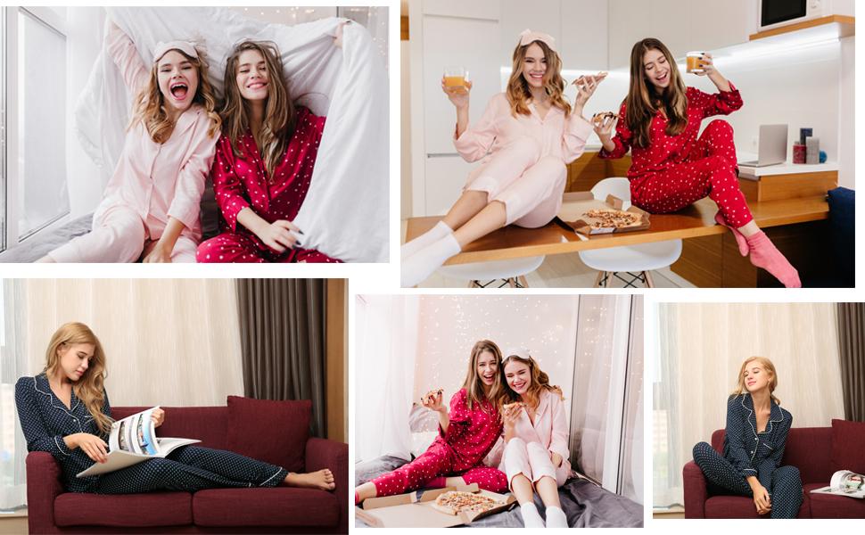 Ekouaer Pajamas Womenamp;#39;s Long Sleeve Sleepwear Button Down Lounge sets Soft Cotton Pj Set XS-XXL