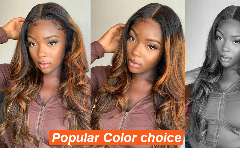 FB Colored Dark Highlight Body wave human hair wigs