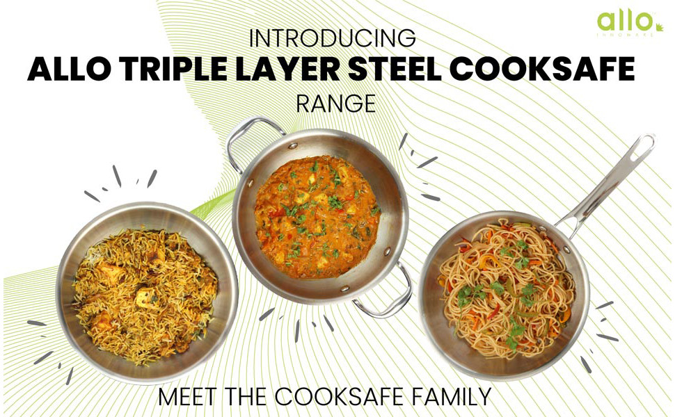 Allo CookSafe 2 litres TriPly Stainless Steel Kadhai   with Stainless Steel Lid   Induction Friendly   Naturally Non Stick , 22Cm