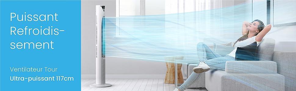 ventilateur tour colonne 117 cm pro breeze ete frais fraicheur blanc