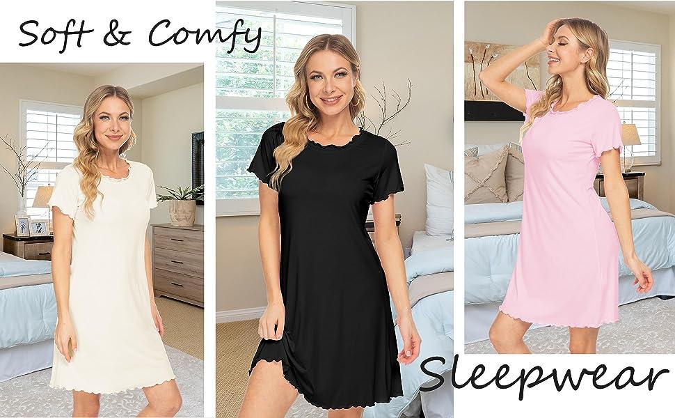 AUHEGN Womens Nightshirt Short Sleeve Nightgown Lettuce Trim Neck Sleepwear Short Pajama Dress