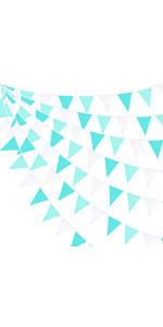 qua Green Banner Party Decorations Triangle Flag Pennant Bunting Fabric Garland