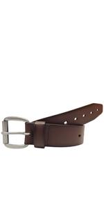 AZ by Alexander Zar Leather Work Belt - 1.5amp;amp;amp;#34; Wide Dark Brown Belt with Holes for Jeans