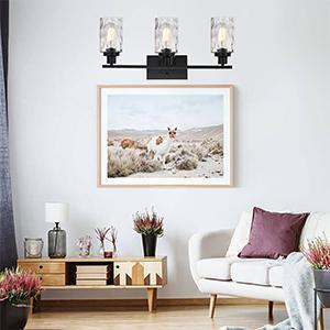 3-light black wall lights