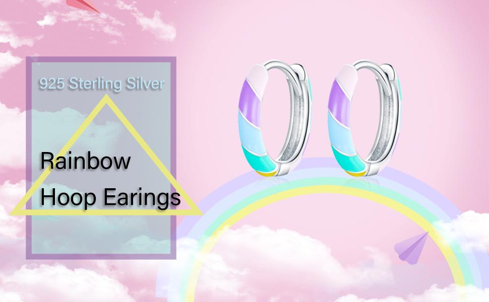 Shysnow Rainbow Huggie Hoop Earrings