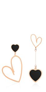 Jertom 14k gold heart mismatch dangle earrings