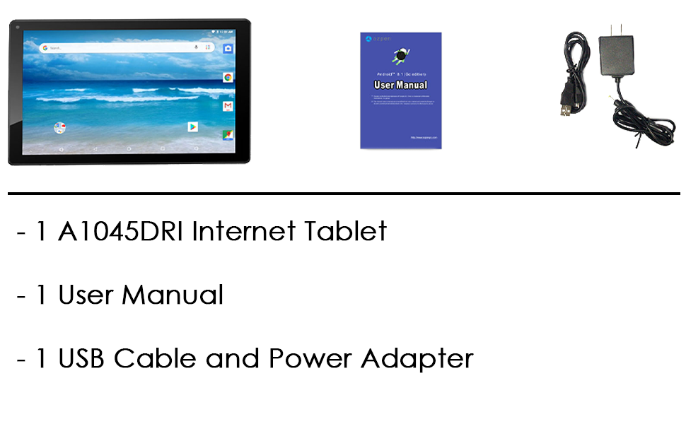 Image showing what is in the box. 1 A1045 Tablet, 1 User Manual, 1 USB Charging cable  and adapter