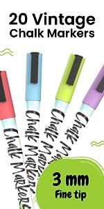 20 Vintage 3mm Chalk Markers